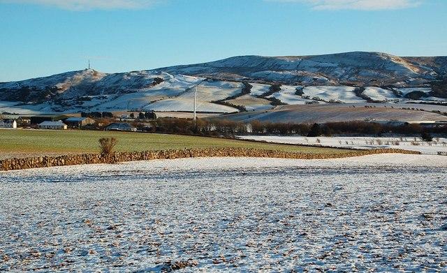 Snowy hills in Girvan